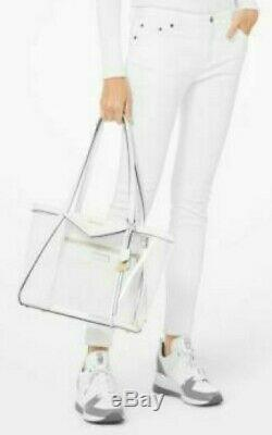 Michael Kors Whitney White New Shoulder Bag Clear Large Tote Crocodile Leather