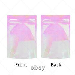 Multi-Sizes Holographic Glossy Pink Clear Plastic Stand up Zip Lock Pouch Bag P2