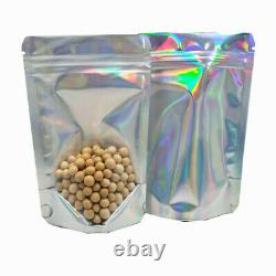 Mylar Stand Up Silver Clear Laser Bag Resealable for Zip Food Aluminum Pack Lock