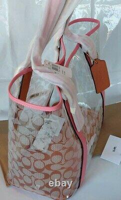 NWT Coach Ferry tote bag clear canvas Tote bag 2564 Pink Lemonade Champagne