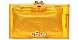 New $975 Charlotte Olympia Yellow Clear Pandora Perspex Plastic Clutch Bag