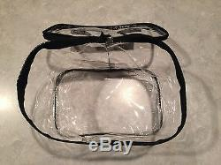 New Lot Of15 Large Clear Zippered Cosmetic Vinyl Plastic Make-up Bag Pouch Case