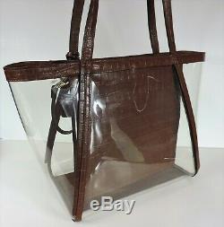 New Michael Kors Whitney shoulder bag clear inset chestnut tote X Lrge plastic