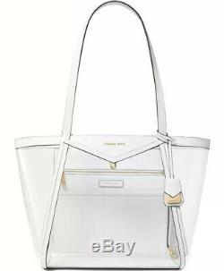 New Michael Kors Whitney shoulder bag clear inset white gold tote X Lrge plastic
