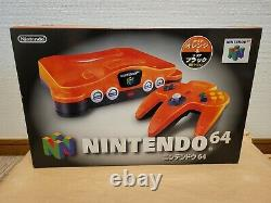 Nintendo 64 Daiei Hawks Clear Orange Japan COMPLETE with ALL PLASTIC BAGS
