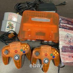 Nintendo 64 Daiei Hawks Clear Orange Japan COMPLETE with ALL PLASTIC BAGS K