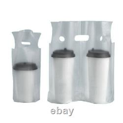 One/Two Cups Beverage Carry Out Take Away Clear Plastic Storage Bags