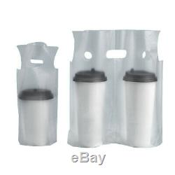 One/Two Cups Clear Plastic Carry Out Beverage Take Away Packaging Bag Pouches