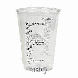 Plastic Medical & Dental Cups, Graduated, 10 oz, Clear, 50/Bag, 20 Bags/Carton