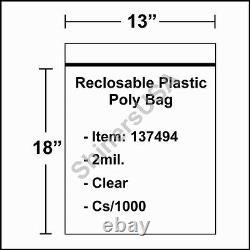 Poly Bag 13x18 2 mil Reclosable Clear Ziplock Plastic cs/1000 (137494)