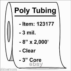 Poly Tubing Roll 8x2000' 3 mil Clear Heat Sealable Plastic Bag on Roll 123177