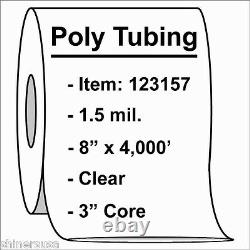Poly Tubing Roll 8x4000' 1.5 mil Clear Heat Sealable Plastic Bag on Roll 123157