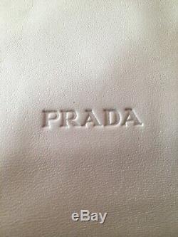 Prada White Supple Leather Hobo Shoulder Bag Clear Plastic Handle EUC