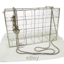 RARE! Authentic CHANEL Plastic Box Chain Shoulder Bag Grid Clear AK16553i