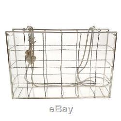 RARE! Authentic CHANEL Plastic Box Chain Shoulder Bag Grid Clear Vintage 910688