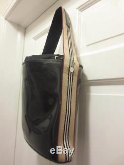 RARE! BURBERRY Clear PLASTIC Nova Check STRIPED PURSE Removable POUCH Handbag