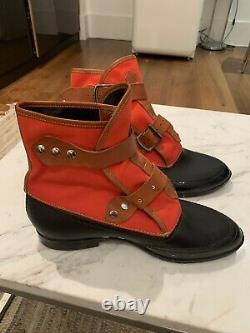 RARE VIVIENNE WESTWOOD Plastic& Canvas BOOTS SZ 44 Red And Black Very Clean 1