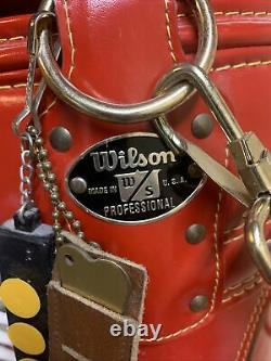 Rare Wilson Golf Cart Tour Bag Red Faux Lather/ USA, very Clean