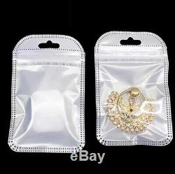 Resealable White Clear Ziplock Plastic Bag Retail Packaging Pouch With Hang Hole
