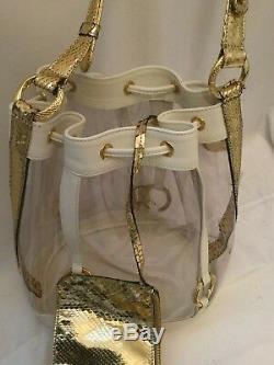 Roberto Cavalli Clear Plastic Gold Purse