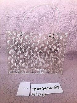 Saks Potts SP white Monogram Print Transparent Tote Bag PVC plastic bag clear