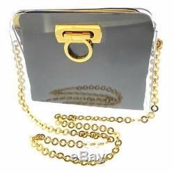 Salvatore Ferragamo Clear Gancini Chain Shoulder Bag Black Auth 8325