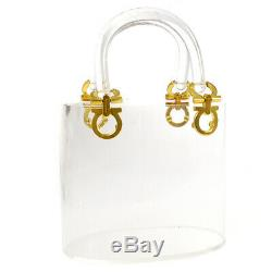 Salvatore Ferragamo Ganchini Hand Tote Bag Clear Plastic Vintage YG02090h