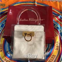 Salvatore Ferragamo Gancini 2 in 1 Plastic Clear Hand Bag White × Black M03