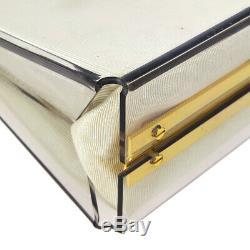 Salvatore Ferragamo Gancini Chain Shoulder Bag Clear Plastic 215263 BT17403