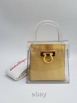 Salvatore Ferragamo Vintage Transparent and Gold Gancini Bag