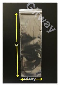 Set 4 x 12 Reclosable Resealable Zip Top Lock Clear Plastic 4x12 Bags 2 MIL