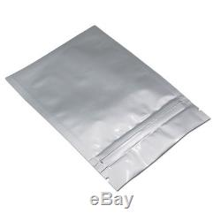 Silver Pure Aluminum Foil Pouches Plastic Ziplock Bags Food Grade Zip Packaging