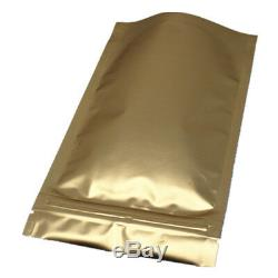 Stand Up Mylar Bags Gold Aluminum Foil Plastic for Zip Clear Poly Lock Food Pack
