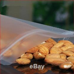 Stand Up Plastic Matte Clear Bags Zip Lock Resealable Packing Grain Food Pouches