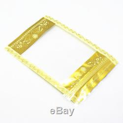 Stand Up Printing Gold Plastic Bag With Clear Window Zip Lock Food Storage Pouch
