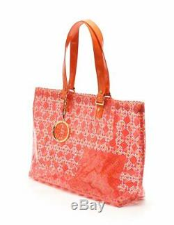 TORY BURCH tote bag plastic pink orange clear with Pouch