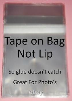 Tape on Bag Clear Cello Card, Gift & Photo Mount Display Bags Plastic Cellophane