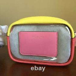 Tory Burch Perry Double Top Zip Color Block Clear Crossbody Bag Pink City Yellow