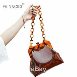 Transparent bag clear pvc plastic bucket bag Acrylic chains vintage party Clu