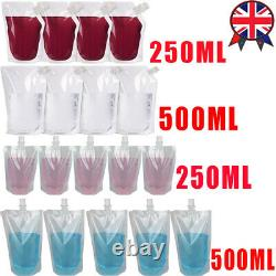 UK STOCK 5-500X Plastic Stand-up Drink Bags Spout Pouch For Liquid Juice Milk