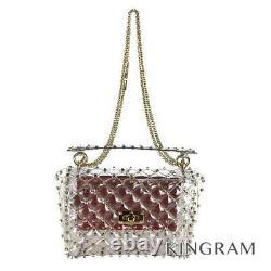 VALENTINO Rock studs 2WAY spike ChainShoulder Bag Clear x Gold handbag Japan