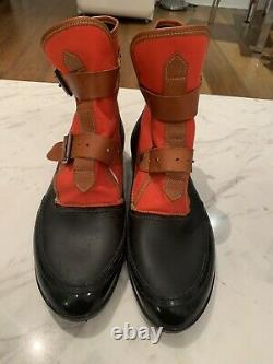VIVIENNE WESTWOOD Plastic& Canvas BOOTS Size 44 Red And Black Very Clean
