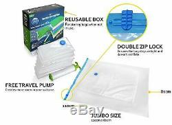 Vacuum Storage Bag Jumbo Reusable Storage Space Saving Double Zip Seal Hand Pump