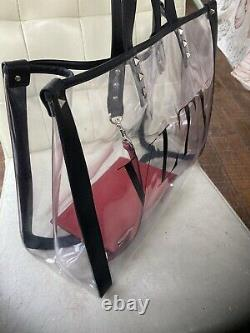 Valentino Garavani VLTN Print Transparent PVC Plastic Tote Bag Authenticate