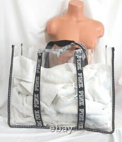 Victorias Secret Pink CLEAR EXTRA LARGE Jelly TOTE TRAVEL BEACH Bag NWT
