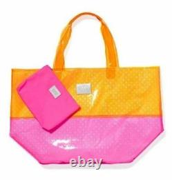 Victorias Secret Pink XX Lg Clear NEON Jelly Tote Beach Bag Withwallet Duffle NWT
