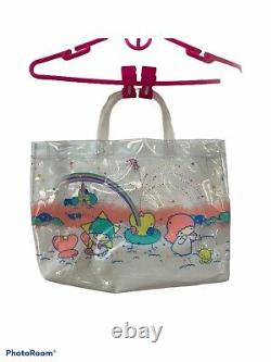 Vintage 1976 Sanrio Little Twin Stars Clear Plastic Tote Bag Purse Made In Japan