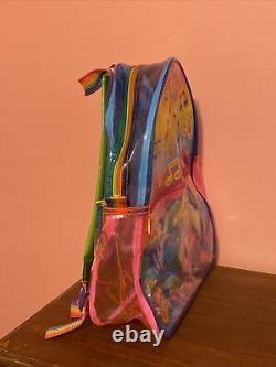 Vintage 90s Lisa Frank Dolphins Music Backpack Bag Clear Vinyl Rainbow Vaporwave