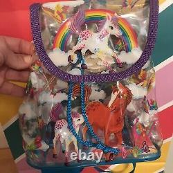 Vintage Lisa Frank Mini Backpack Rainbow Chaser Lollipop Horses Clear Bag 1990s