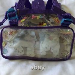 Vintage Lisa Frank Violet Velvet Puppies Bugs Mini Clear Backpack Bag 90's